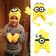 Despicable Me 2 Minions Children Winter Hat Kids Scarf Gloves & Mittens Boys & Girls Hats & Caps(China (Mainland))