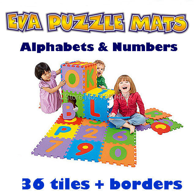 36Pcs/Lot Environmentally EVA Foam Puzzle Numbers+Letters Play Mat Puzzle Floor Mats Baby Carpet Pad Toys For Kids 12cm*12cm(China (Mainland))