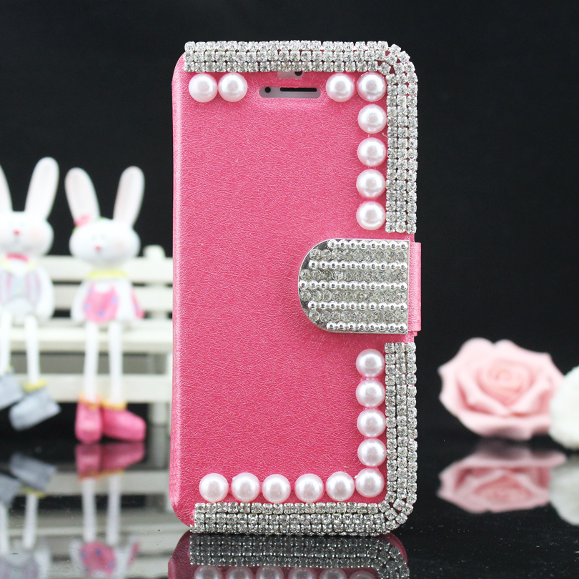 1pcs New Brand Bling Silk Print holster Crystal Pearl Rhinestone Diamond Jewelry Leather Fundas Flip Cases Cover For iPhone4 4s(China (Mainland))