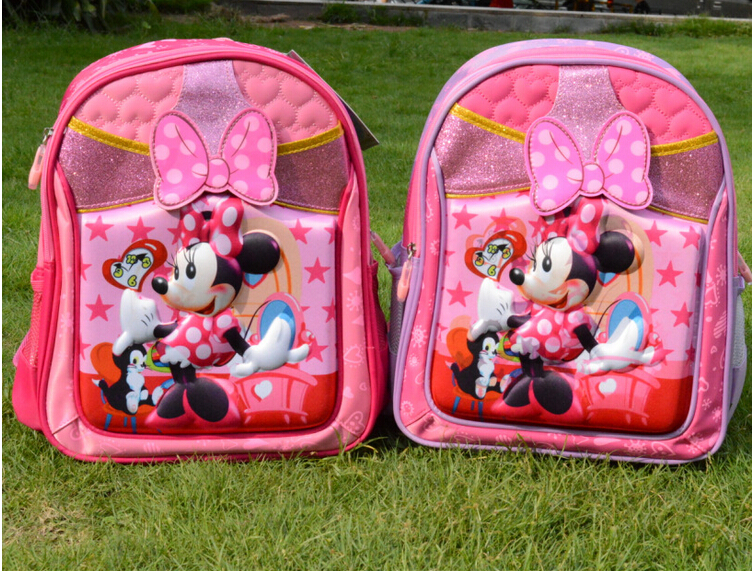 Free shipping New Minnie 3d kids cartoon characters backpacks children school bags minnie mouse backpack(China (Mainland))