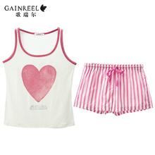 Summer song Riel cute striped pajamas men and women couple Waichuan vest shorts suit tracksuit Chi