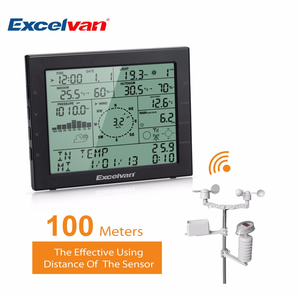 Buy excelvan professional led wireless weather station internet temperature - Thermometre connecte wifi ...