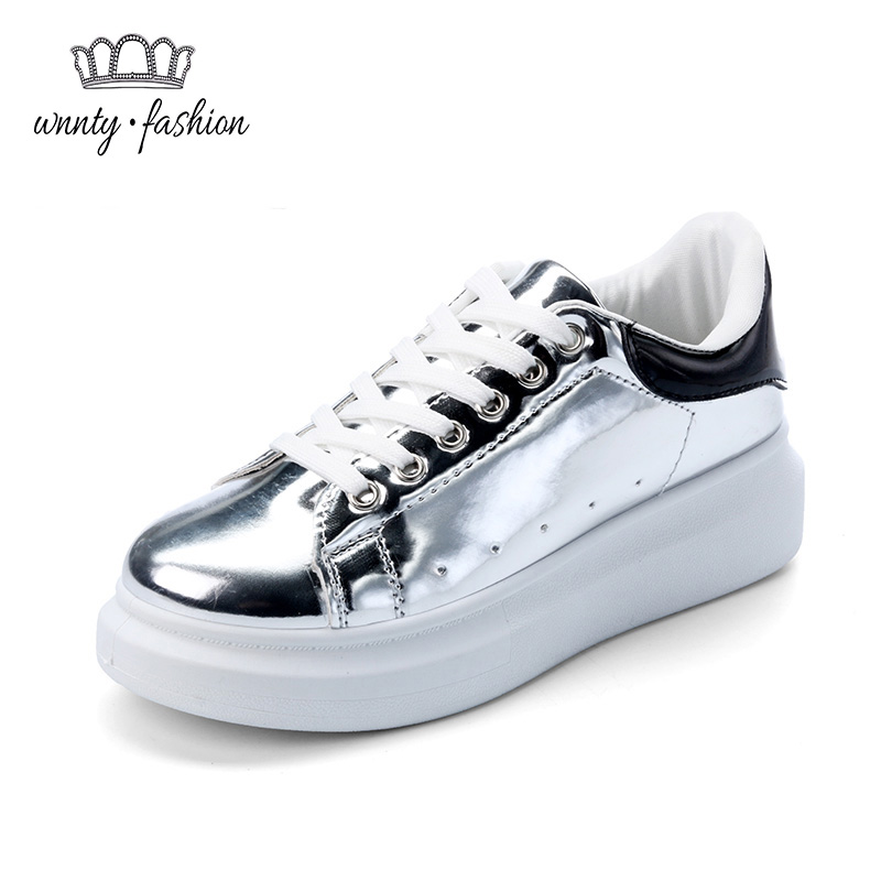 Women Platform Leather Casual Shoes 2016 New Spring pu Woman Lace-Up Solid Color Brand shoes Low Top Flats - only love forever store