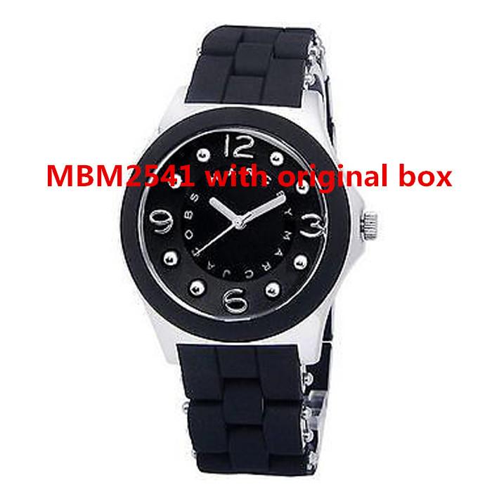 Wholesale free shipping two year warrranty Silver tone MBM2541 Black Silicone stainles steel quartz glow watch Bracelet original(China (Mainland))
