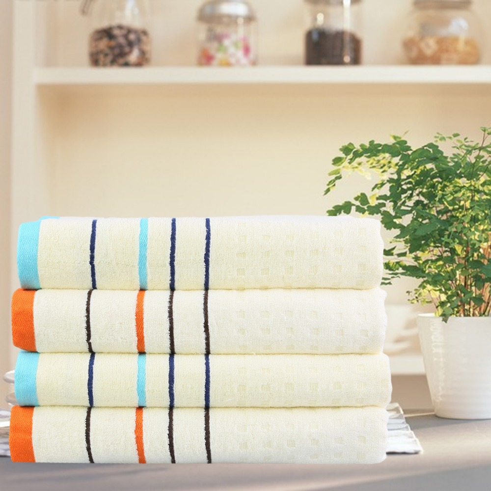 Bamboo Fiber Towel Face Hand Hair 32x74cm Stripe Yarn Dyed Washclothes 1pcs/lot Woven Home Use Quickly-Dry Solid 2 Colors(China (Mainland))