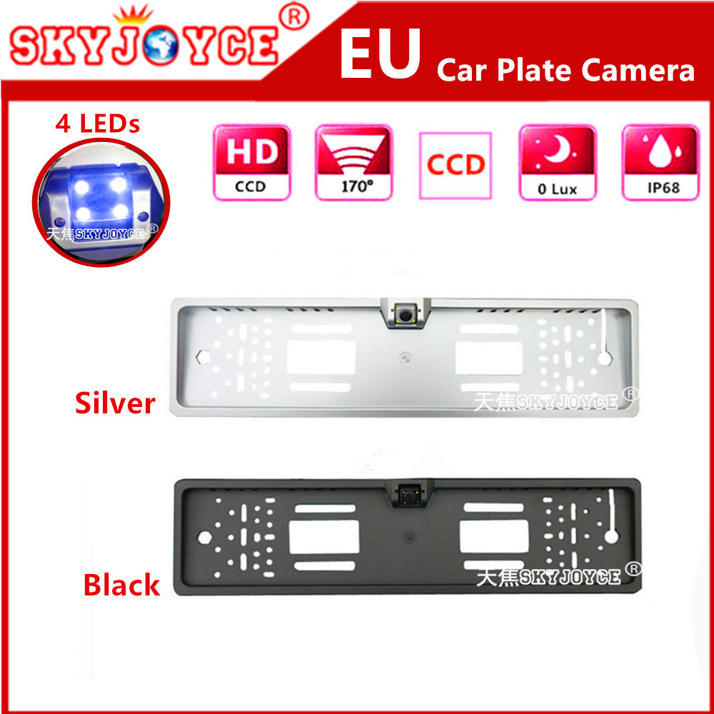 Freeshipping European license plate frame camera led backup parking rearview camera Russia cars rear camera CCD HD auto camera(China (Mainland))