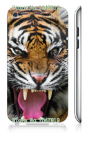 Mobile Phone Case Retail 1pc Angry Tiger Head Protective White Hard Case Cover For Ipod Touch 4 4th Free Shipping