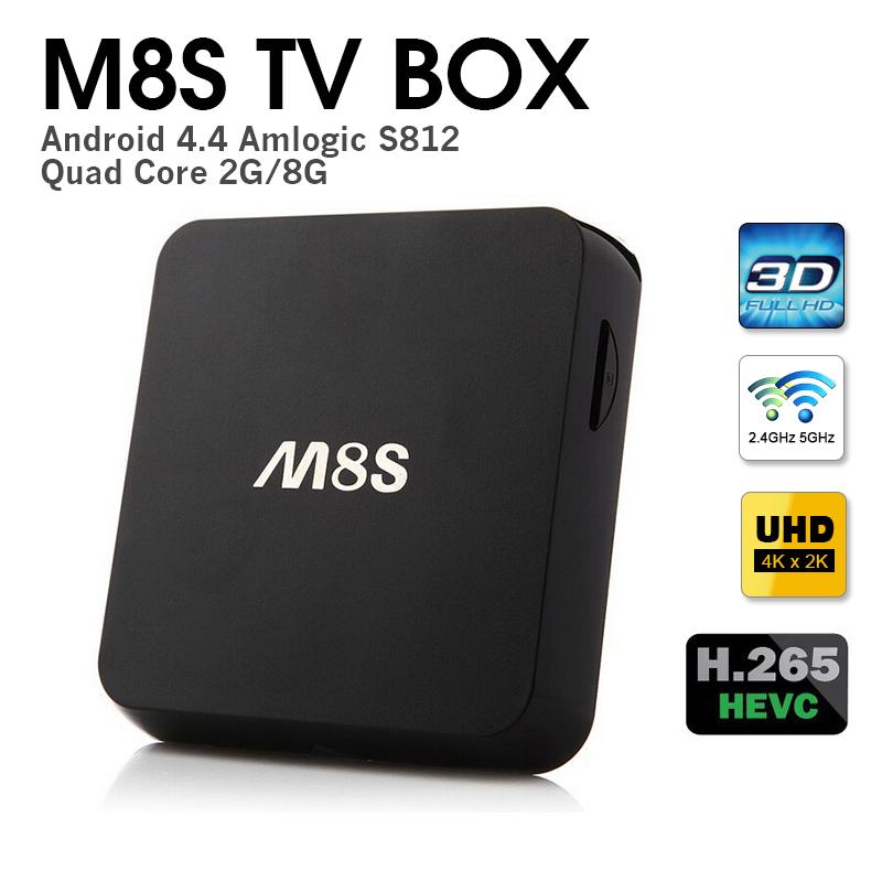 Original M8S Amlogic S812 Quad Core android TV Box H.265 HEVC Android 4.4 Dual Wifi 2GB/8GB BT4.0 KODI APK &amp; ADD-ONS  <br><br>Aliexpress