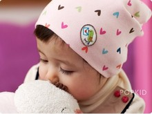 2015 New Fashion Winter Peach heart print Baby boys/girls caps Kids Beanie Children Ear Protector Caps retail high quality, I035(China (Mainland))