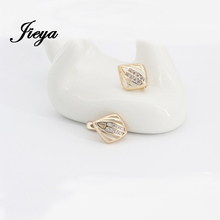 New Style Rhombic Earrings Gold 585 Natural Zirconia 2015 Fashion Jewelry For Women Brinco Big Wedding Rhombic Earring Wholesale(China (Mainland))