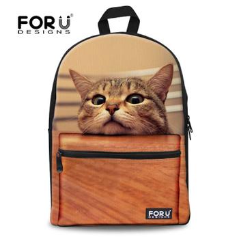 Мода дети школьные сумки милые 3D кошка животных школьный для девочек свободного ...