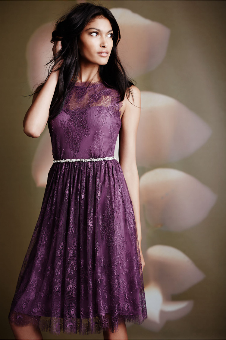 Vintage purple short bridesmaid dresses 2016 simple o neck for Dress as a wedding guest