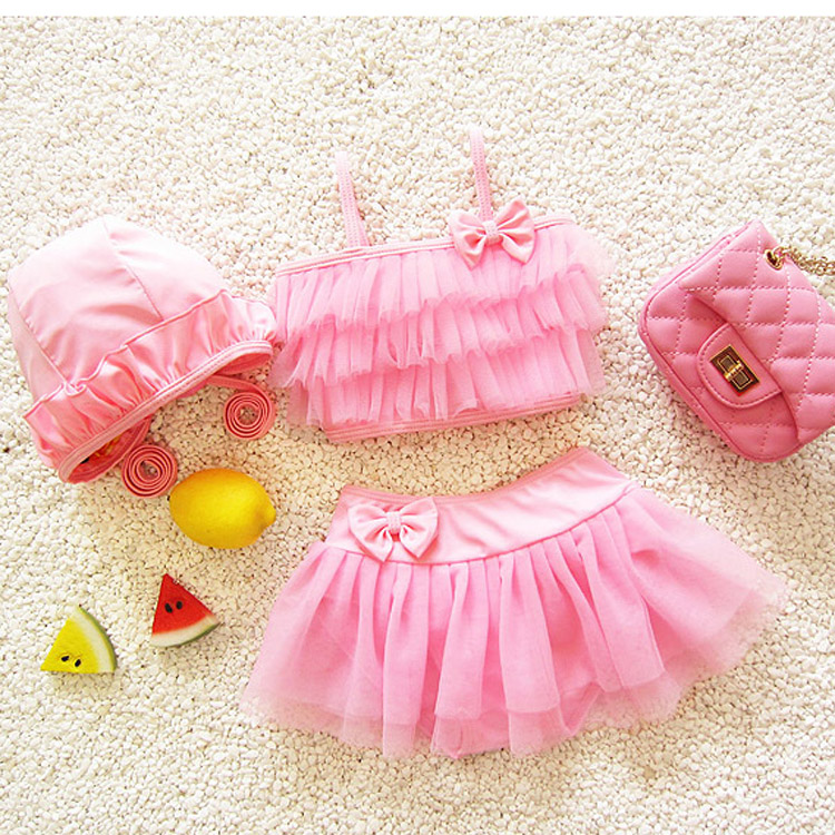 bikini girl swimwear 2016 children girls swimsuit skirt bathing cap two-piece dress baby - Ningbo Yinzhou Chenfeng Garment Factory store