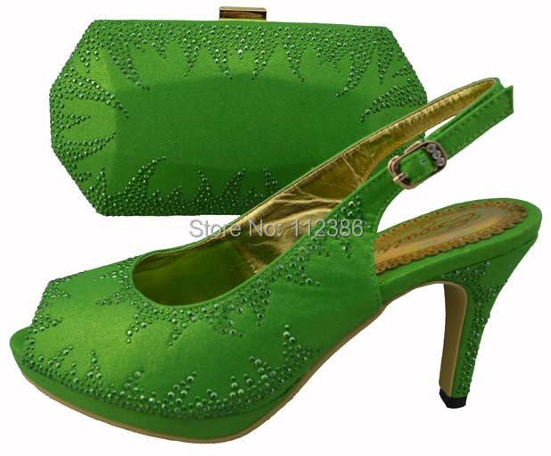 matching italian lady shoe bag set green,PU leather round toe wedding party grreen - African Fashion clothing store