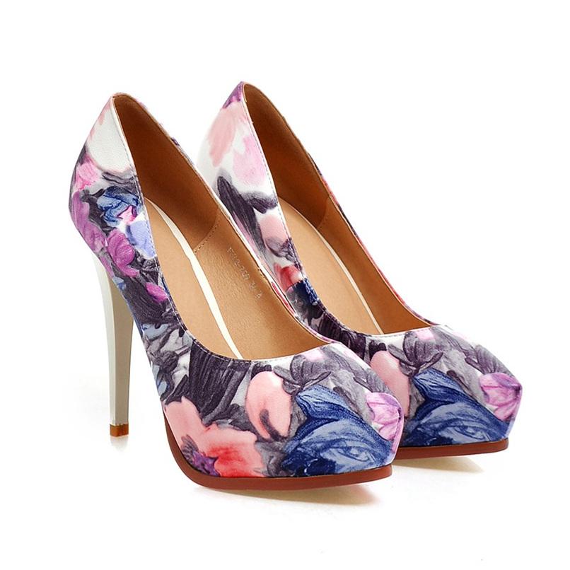 PU pointed toe pumps flowers stripe women shoes fashion sexy high thin heels platform party dress shoes sizes 22cm-25cm