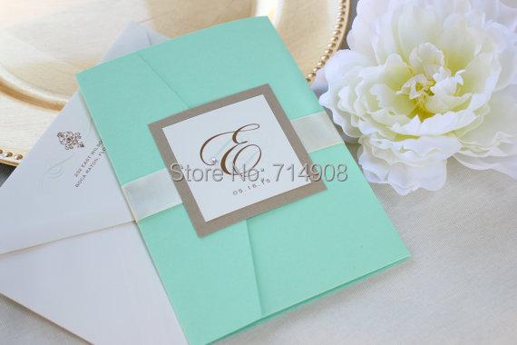 Monogram blue pocketfold wedding cards best quality for Best quality wedding invitations online