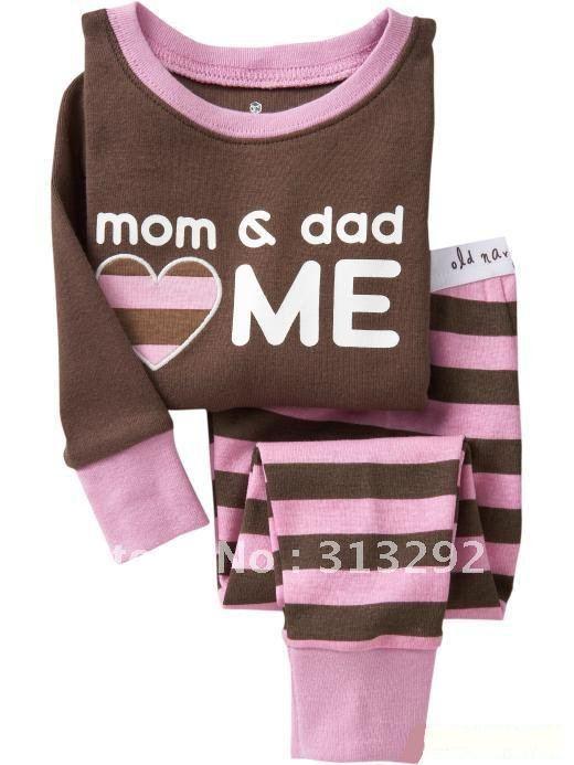 P14, mom & dad love me, Baby/Children 100% Cotton Rib long sleeve T shirt + pant pajamas/sleepwear/clothing sets for 2-7 year.
