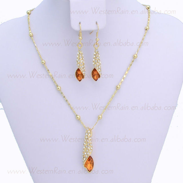 New Fashion Green&Brown Crystal Women's Prom Water Drop Pandent Necklace/Earrings Jewelry Set, Gift, Free Shipping 609