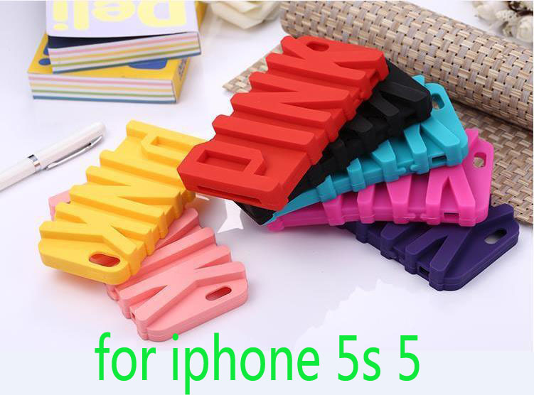 Love 3D Pink Letter Silicone Case iPhone 5 5s 5g Phone Protective Back Covers, - Whole Sale Accessories Center store