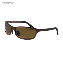 Ultra Light Fashion Design Style Very special leg Brown Frame For Men Aluminum Sunglasses A102(China (Mainland))