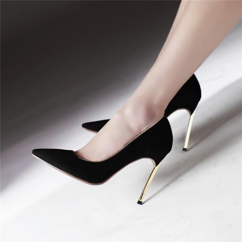 HTB1X23zLFXXXXagXXXXq6xXFXXXr - LOVEXSS Womens Size 10 Heels Metal Heel Stiletto Glitter Wedding Pumps Large Size 34 - 43 Black Golden Silver Heels Shoes