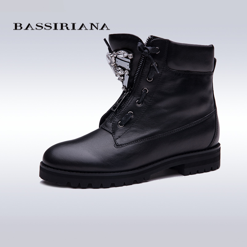 BASSIRIANA New Ankle Boots Zip fashion autumn winter short shoes women boots fashion metal shoes boots sale size 35-40(China (Mainland))