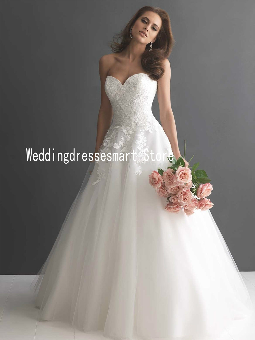A line cheap wedding dresses custom made lace appliques for White elegant wedding dresses