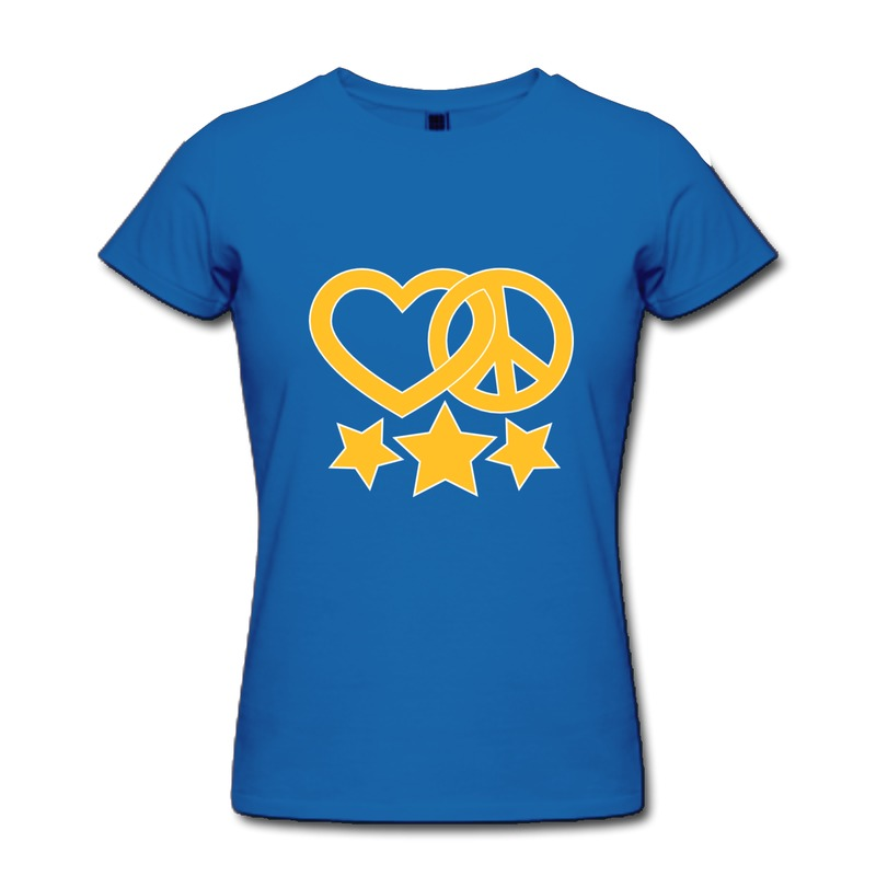 Slim Fit Girl Teeshirt love and peace star 2c Fun Txt T Shirts for Woman