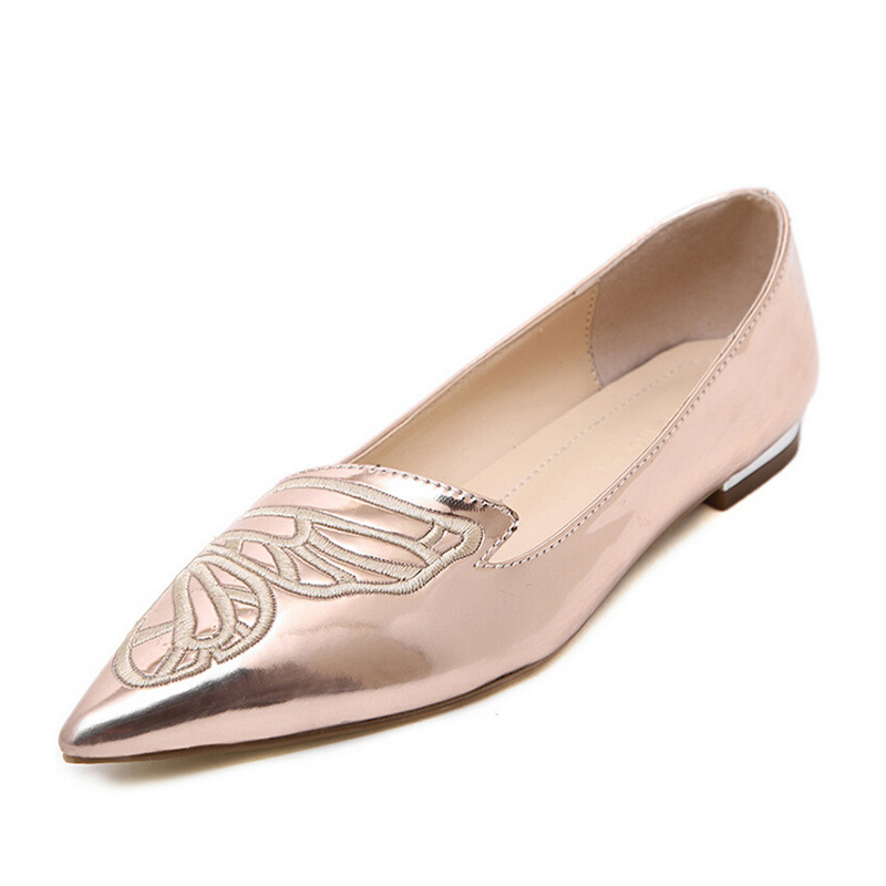 2016 Brand Fashion Women Loafers Flats Pointed toe Shoes Woman Slip on PU Butterfly Embroidery Oxfords Black Pink SW1272<br><br>Aliexpress