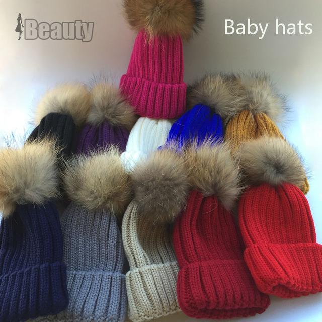 Детские осень зима шапочка Hat с Натуральный Мех пом пом детей шапочки для 1-8 лет Прохладный моды Вязания Крючком Детские Вязаные Шапки