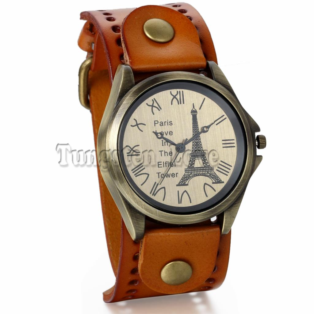 Vintage Paris Love In The Eiffel Tower Leather Bracelet Watch For Women 3MM Wide Cuff Quartz Clock Watch Casual Watch(China (Mainland))