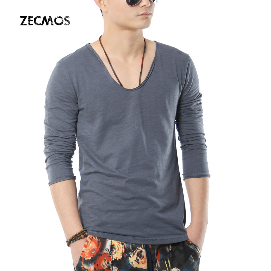 Zecmos swag men long sleeve t shirt v neck t shirts for for Mens slim fit long sleeve t shirts