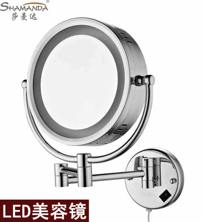 Free shipping High quality Solid brass chrome bathroom LED cosmetic mirror in wall mounted mirrors bathroom accessories