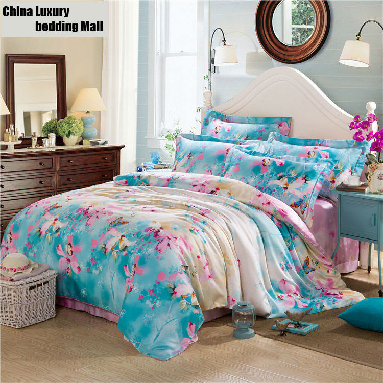 Butterflies printed super soft Luxury bedding sets king queen size China Tencel/Silk Cloth bedcover/bed sheets set(China (Mainland))