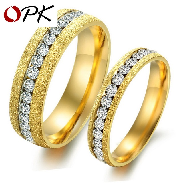 OPK JEWELRY Engagement gift Packing Gold Plated couple ring Titanium steel ring (gold is for male grey is for famale) GJ362
