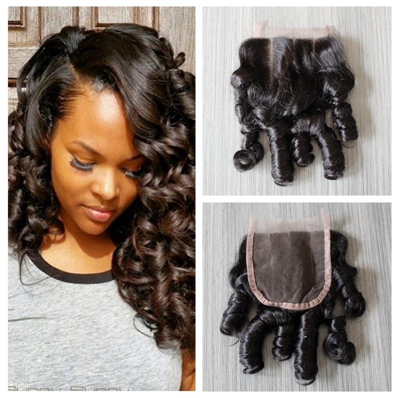 Natural Looking Peruvian Virgin Hair Funmi Loose Wave Lace Closure 4*4 Swiss Lace 1# Jet Black Free/Middle/Three Part 8A Best(China (Mainland))