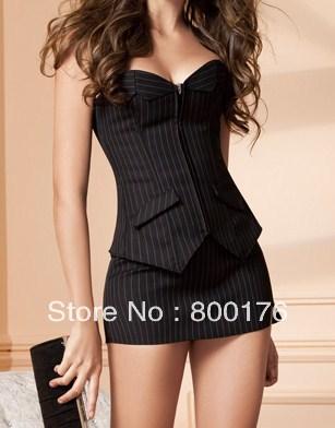 Free Shipping Sexy Ladies Black Corset Bustier & Mini Skirt Pinstripe Zip Up S-6XL.