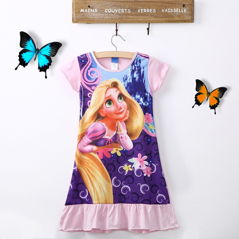 New 2015 Summer Style Anna&elsa Nightgown Dress Children Clothing Girls Dress Kids Girls Princess Dress Girl Party Dresses(China (Mainland))
