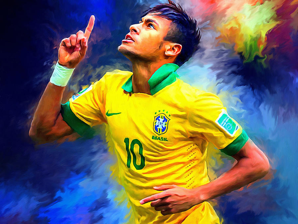 Skilled Artists Hand Painted High Quality Neymar Portrait Oil Painting On Canvas High Quality Soccer Player Oil Painting Artwork(China (Mainland))