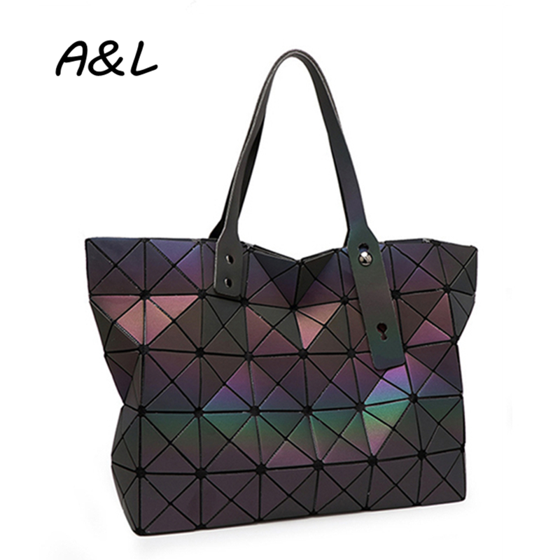 2016 Top Quality Fashion Women Bag Female Laser Geometry Sequins Handbag Lady Briefcase Shoulder Bag Plaid Tote Sac a Main A0189(China (Mainland))