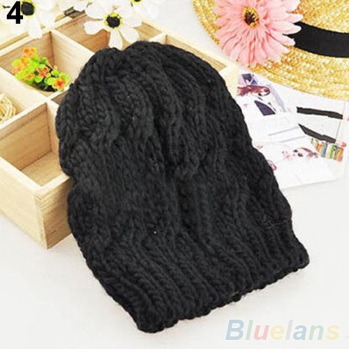Women s Winter Knit Crochet Knitting Wool Braided Baggy Beanie Ski Hat Cap 1QEX 4NQA