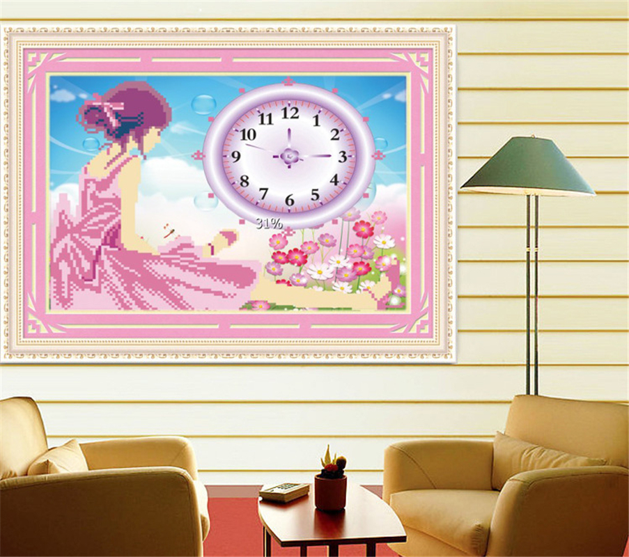 Hot sale 5d diamond painting cross stitch wall clock 2015 for Home decor brands