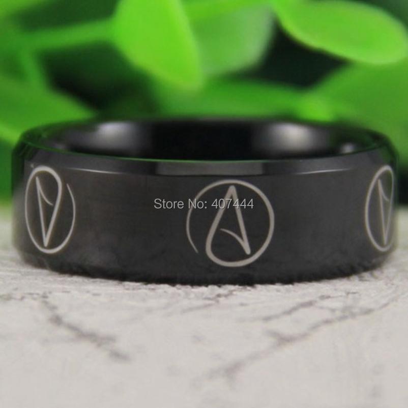 Free Shipping USA UK Canada Russia Brazil Hot Sales 8MM Shiny Black Bevel Atheist Comfort Fit Design Men's Tungsten Wedding Ring(China (Mainland))