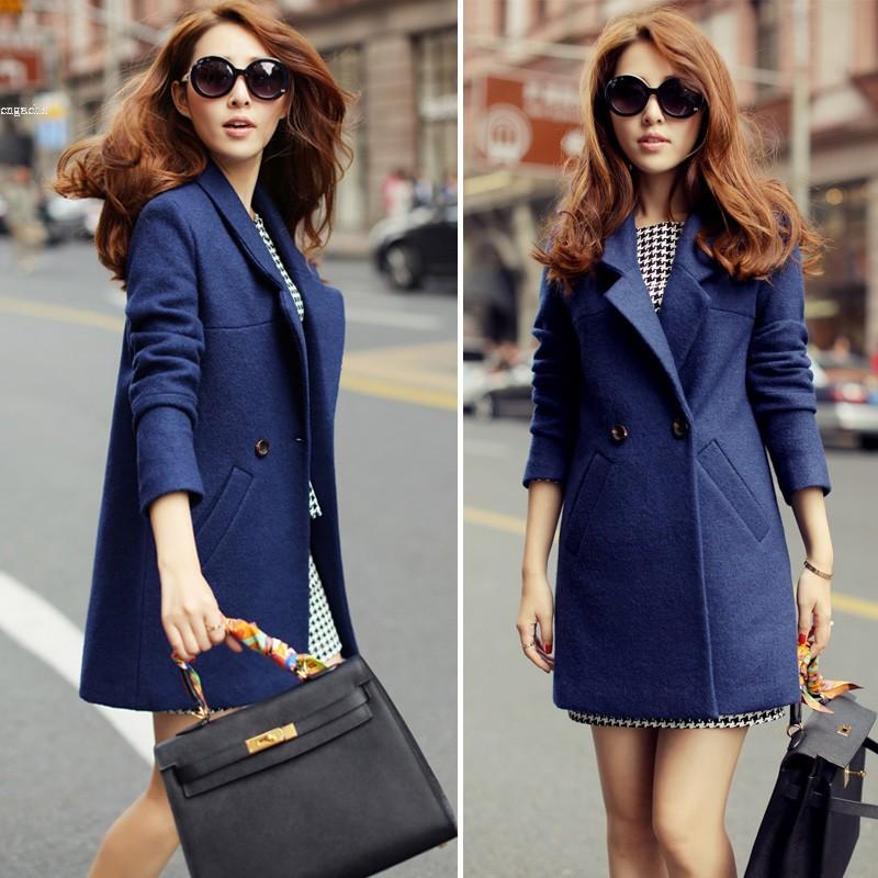 New Arrival Women's winter long slim Woolen outerwear overcoat female cotton lapel overcoat thick warm coats 35
