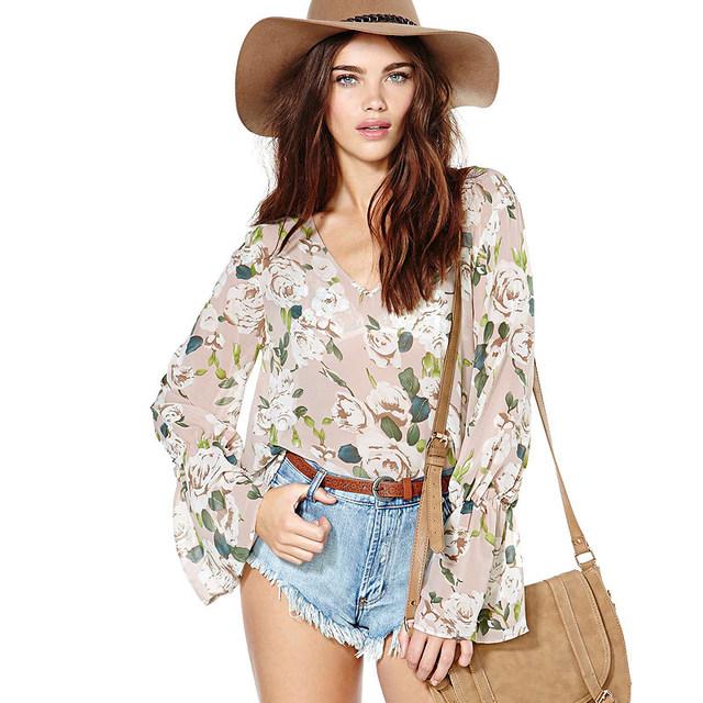 Brand New Женщин Вырос Печати Шифон Блузка Элегантный Цветок Печатных Прозрачный Большой Размер Рубашка Корейской Версии Круто Блузка