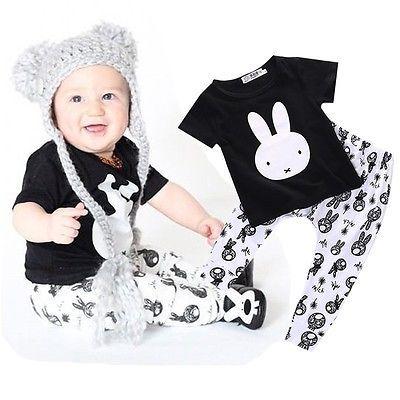 Малыш малыш детская одежда мальчик кролик печать футболка топ брюки мальчиков установить прекрасные костюмы одежда