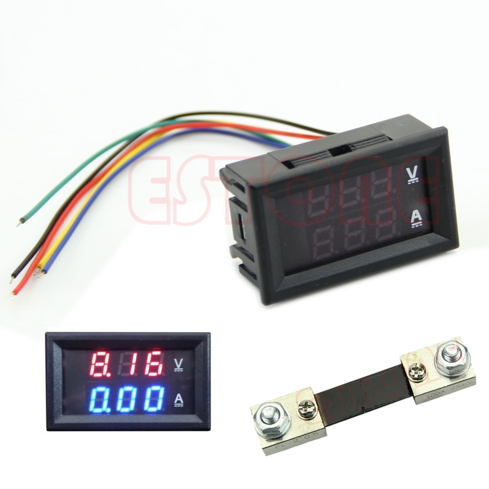 Free ShippingDual LED Digital Voltmeter Ammeter Amp Volt Meter + Current Shunt DC 100V 100A<br><br>Aliexpress