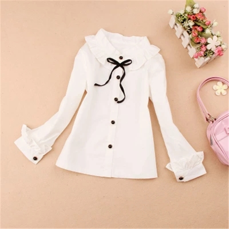 baby girl clothes 2016 Autumn girls blouse children clothing school girl white blouse cotton child shirt kids clothes age 1-16Y(China (Mainland))