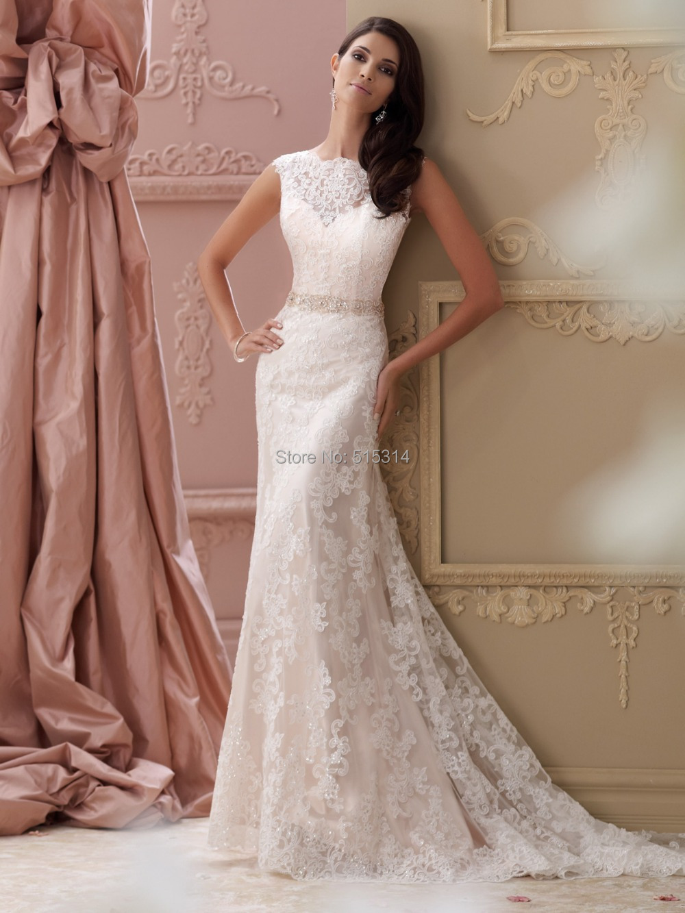 custom made sheath tulle lace sext beading lace wedding gown backless wedding dress 2017 bride new