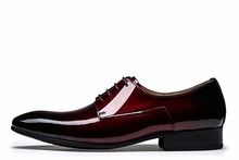 Cool pointed toe wine red / black derby shoes mens dress shoes patent leather wedding shoes mens business shoes(China (Mainland))